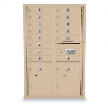 14 Door, 2 Parcel Locker 4C Horizontal Mailbox