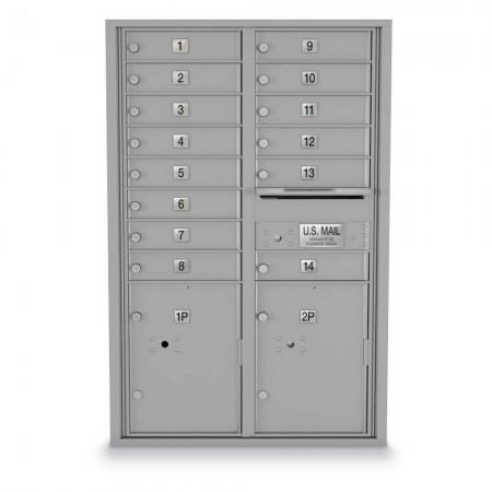14 Door, 2 Parcel Locker 4C Horizontal Mailbox