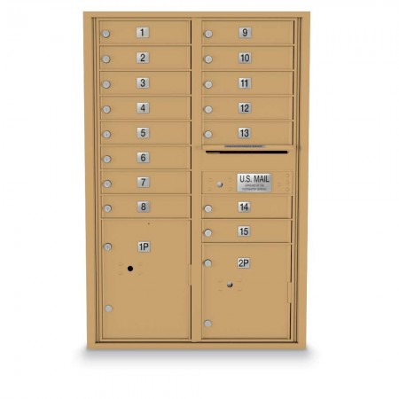 15 Door, 2 Parcel Locker 4C Horizontal Mailbox