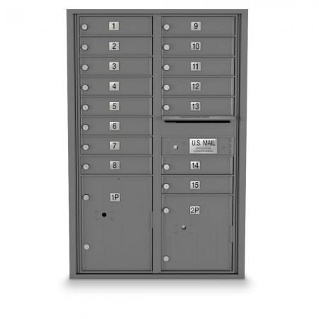15 Door, 2 Parcel Locker 4C Horizontal Mailbox