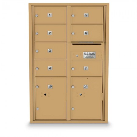 7 Door, 2 Parcel Locker 4C Horizontal Mailbox