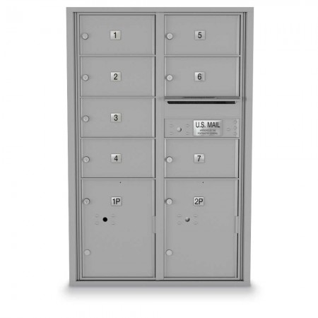 7 Door, 2 Parcel Locker 4C Horizontal Mailbox