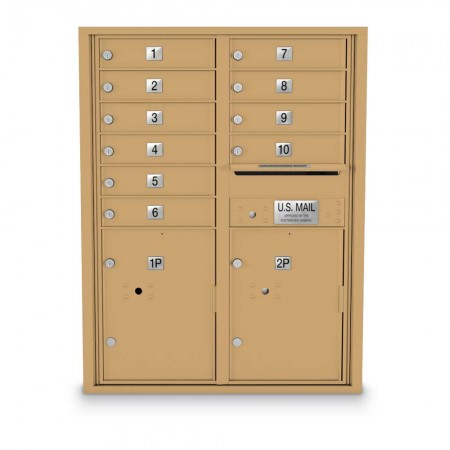 10 Door, 2 Parcel Locker 4C Horizontal Mailbox