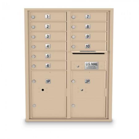 10 Door, 2 Parcel Locker 4C Horizontal Mailbox