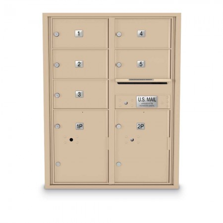 5 Door, 2 Parcel Locker 4C Horizontal Mailbox
