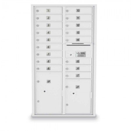 17 Door, 2 Parcel Locker 4C Horizontal Mailbox