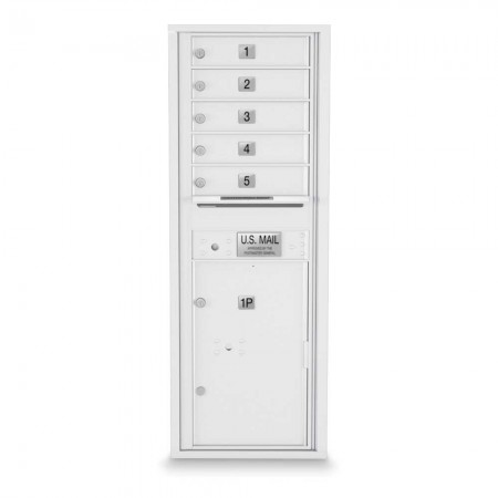 5 Door, 1 Parcel Locker 4C Horizontal Mailbox