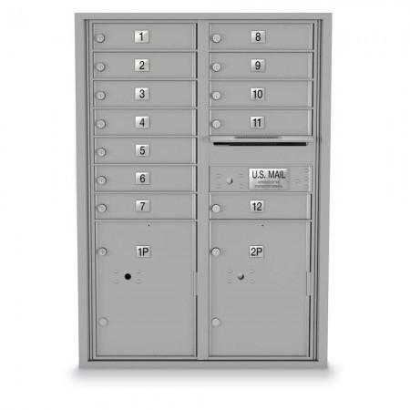 12 Door, 2 Parcel Locker 4C Horizontal Mailbox
