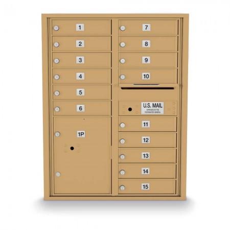 15 Door, 1 Parcel Locker 4C Horizontal Mailbox