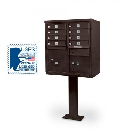 8 Door F-Spec Cluster Box Unit with Pedestal, Bronze