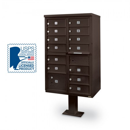 13-Door F-Spec Cluster Box Unit with Pedestal, Bronze