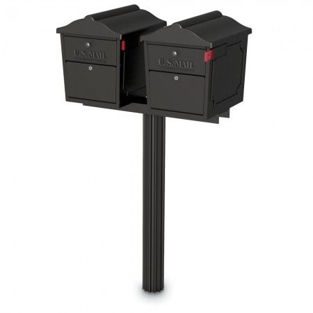 Two Dual-Entry Lockable Curbside Mailboxes with One Senator Post