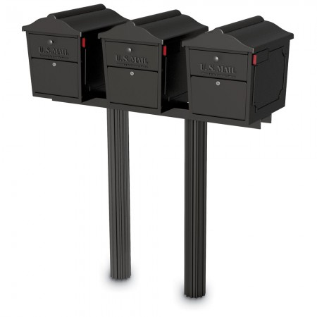 Three Dual-Entry Lockable Curbside Mailboxes with Two Senator Posts