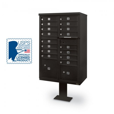 16 Door F-Spec Cluster Box Unit with Pedestal, Black
