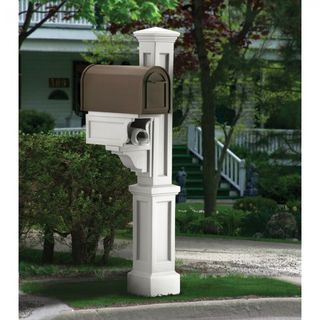 Rockport Single Mail Post, White