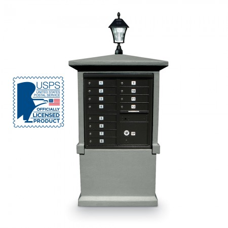 Freestanding Stucco Enclosure for  8 or 12 Door CBU  with Solar Lamp