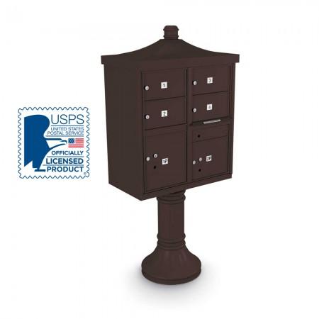 Decorative Large-Capacity 4-Door CBU including Tall Pedestal, Cap, and Regal Finial