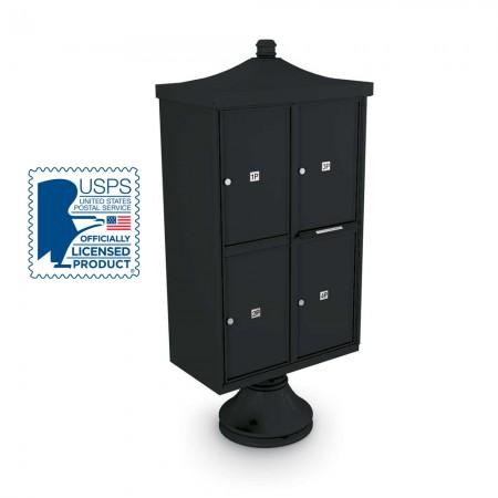 Decorative 4 Parcel Locker unit ncluding Short Pedestal, Cap, and Regal Finial
