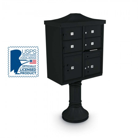 Decorative Large-Capacity 4-Door CBU including Tall Pedestal,  and Cap