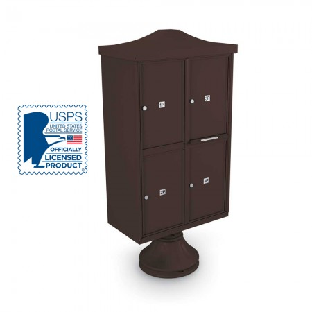 Decorative 4 Parcel Locker unit ncluding Short Pedestal,  and Cap