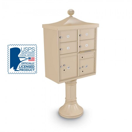 Decorative Large-Capacity 4-Door CBU including Tall Pedestal, Cap, and Ornamental Finial