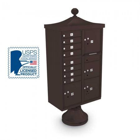 Decorative Large-Capacity 8-Door CBU including Short Pedestal, Cap, and Ornamental Finial