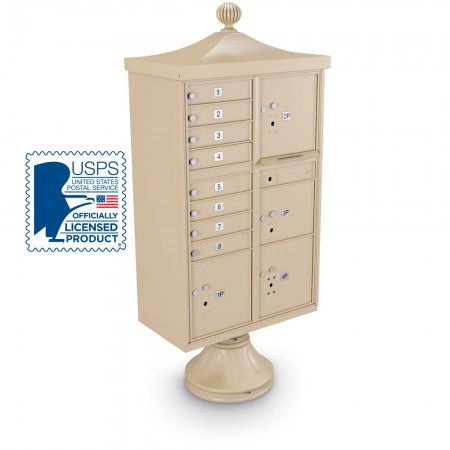 Decorative Large-Capacity 8-Door CBU including Short Pedestal, Cap, and Ornamental Finial