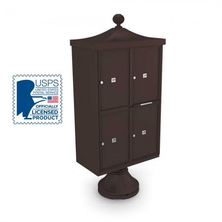 Decorative 4 Parcel Locker unit including Short Pedestal, Cap, and Ornamental Finial