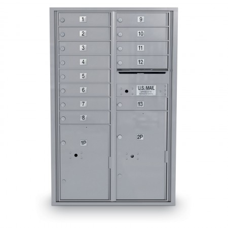 13 Door 4C Horizontal Mailbox - 2 Parcel Lockers