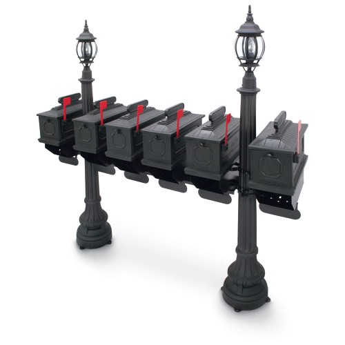 Illuminated Morganton 1812 Six Residential Mailboxes & Post