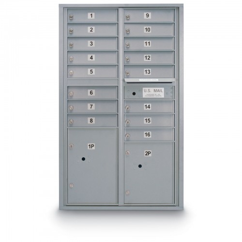 16 Door 4C Horizontal Mailbox - 2 Parcel Lockers