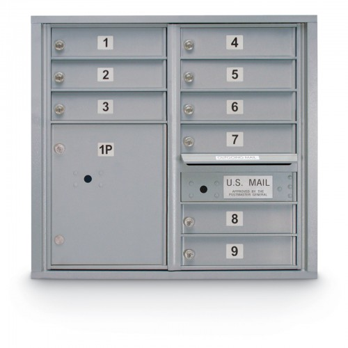 9 Door 4C Horizontal Mailbox - 1 Parcel Locker