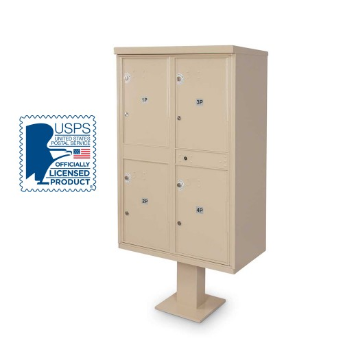 4 Parcel Locker F-spec Cluster Box Unit with Pedestal