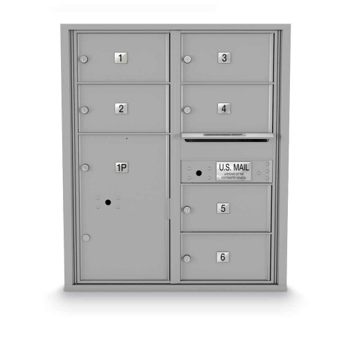 6 Door, 1 Parcel Locker 4C Horizontal Mailbox