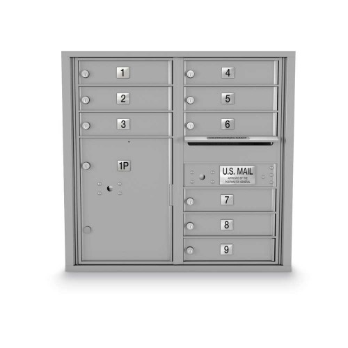 9 Door, 1 Parcel Locker 4C Horizontal Mailbox