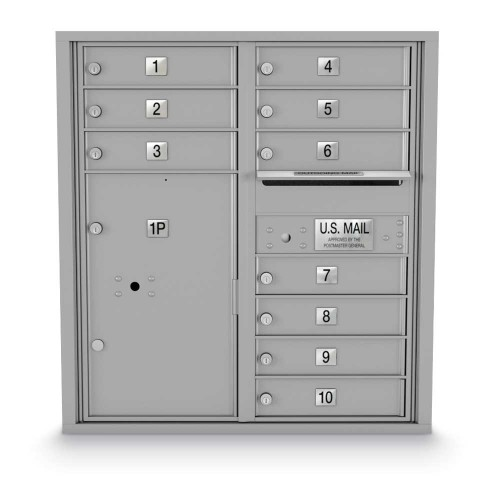 10 Door, 1 Parcel Locker 4C Horizontal Mailbox