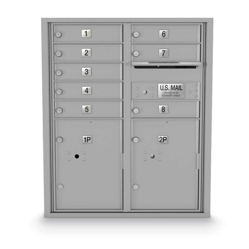 8 Door, 2 Parcel Locker 4C Horizontal Mailbox