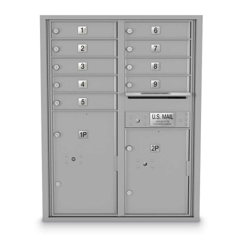 9 Door, 2 Parcel Locker 4C Horizontal Mailbox