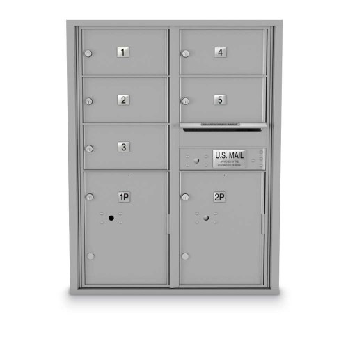 5 Door, 2 Parcel Locker 4C Horizontal Mailbox