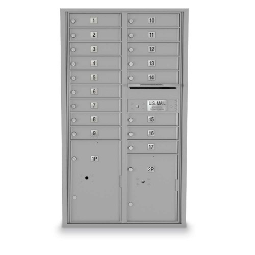 17 Door, 2 Parcel Locker 4C Horizontal Mailbox