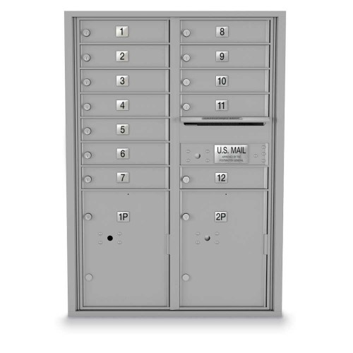 12 Door, 2 Parcel Locker 4C Horizontal Mailbox