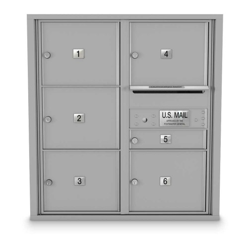 6 Door Over-sized 4C Horizontal Mailbox