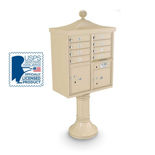 Decorative 8-Door CBU including Tall Pedestal, Cap, and Ornamental Finial