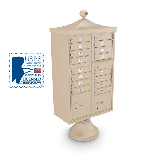 Decorative 16-Door CBU including Short Pedestal, Cap, and Ornamental Finial