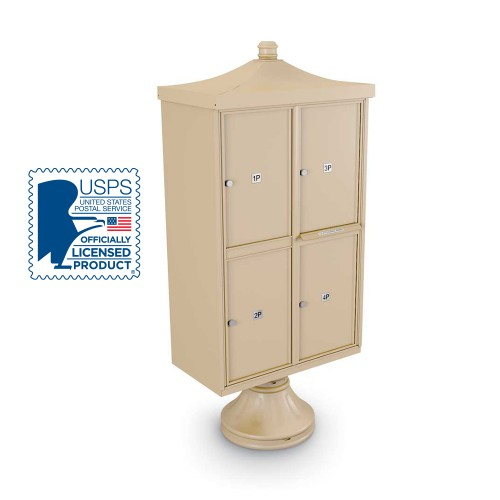 Decorative 4 Parcel Locker unit ncluding Short Pedestal, Cap, and Regal Finial