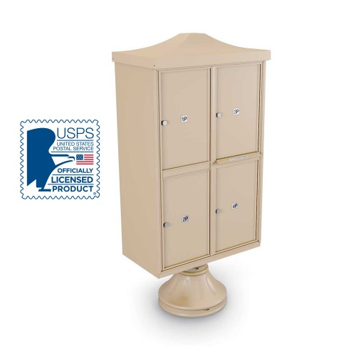 Decorative 4 Parcel Locker unit ncluding Short Pedestal,  and Cap