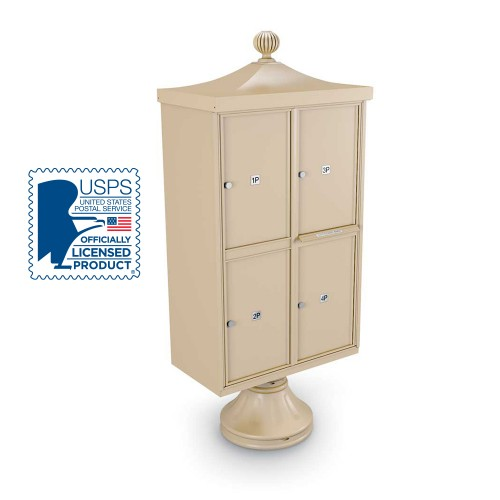 Decorative 4 Parcel Locker unit including Short Pedestal, Cap, and Ornamental Finial