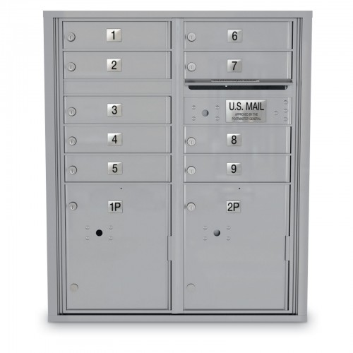 9 Door 4C Horizontal Mailbox - 2 Parcel Lockers