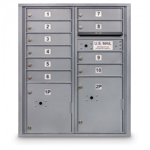 10 Door 4C Horizontal Mailbox - 2 Parcel Lockers - ADA Compliant