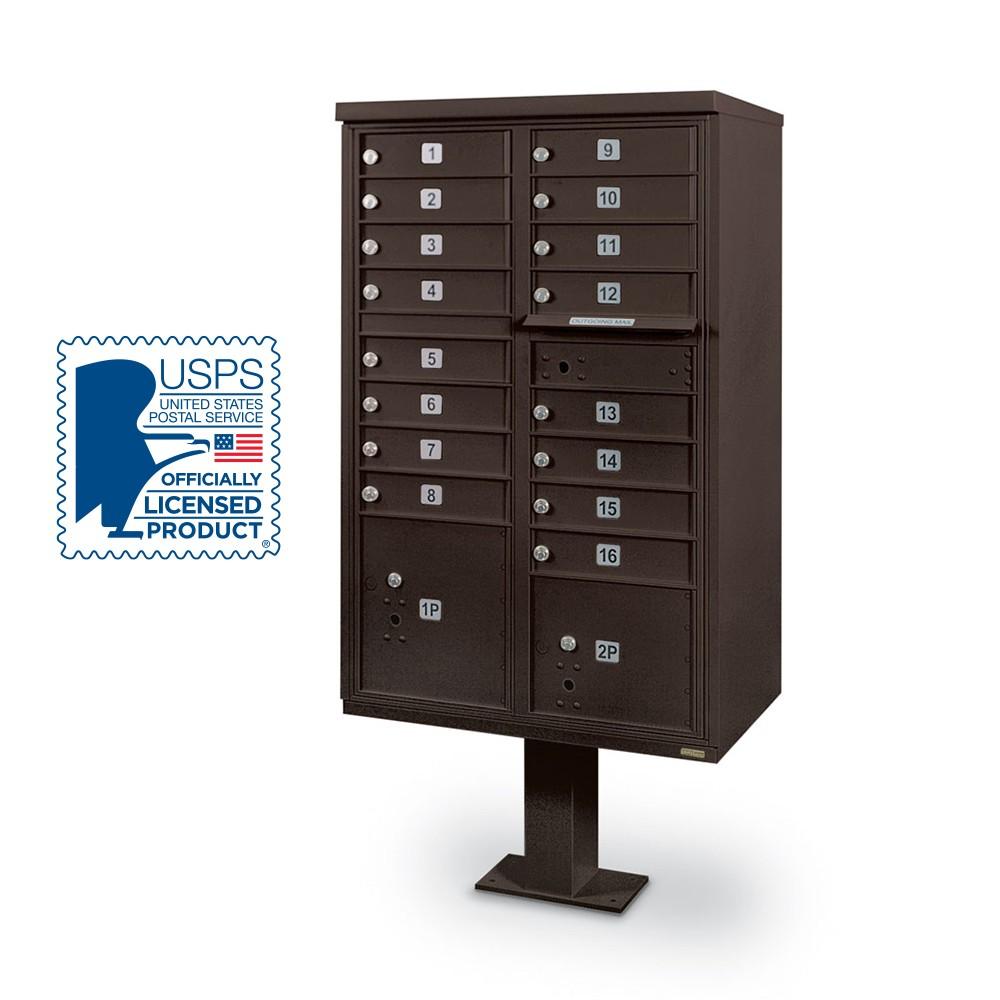 16 Door F Spec Cluster Box Unit With Pedestal Bronze